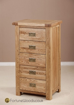 Country Oak Chest of Drawer - 5 Drawer Wellington