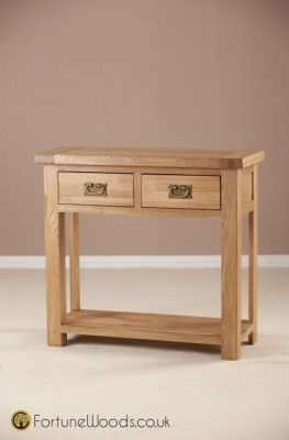 Country Oak Console Table - 2 Drawer