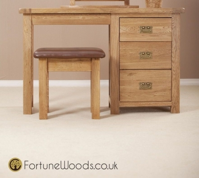 Country Oak Dressing Table - Single Pedestal