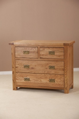 Country Oak 2+2 Drawer Chest