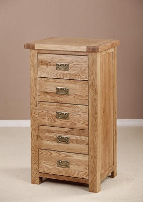 Country Oak 5 Drawer Chest