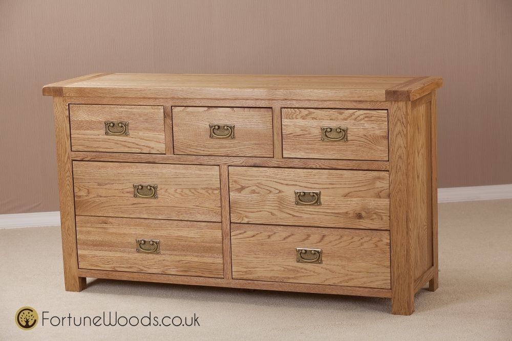 Country Oak Chest of Drawer - 3 Over 4 Drawer