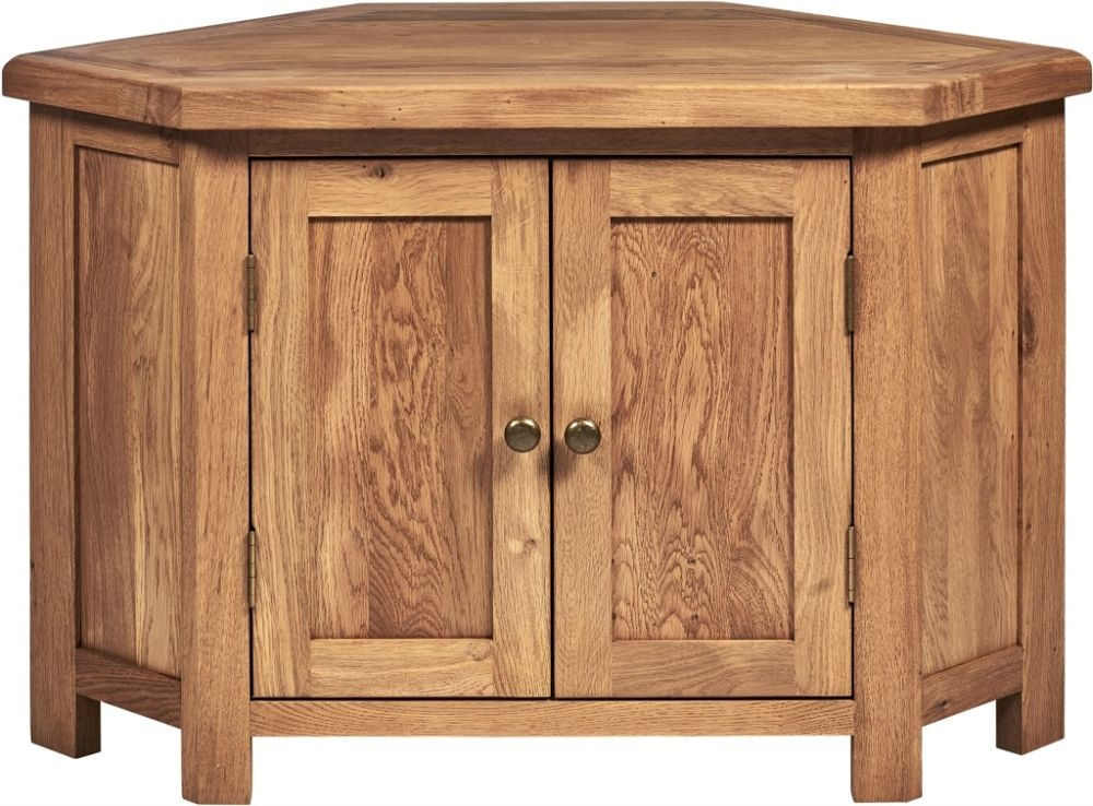 Country Oak Large Corner TV Unit
