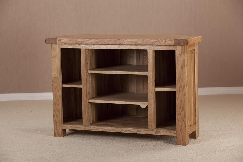 Country Solid Oak Corner TV Unit