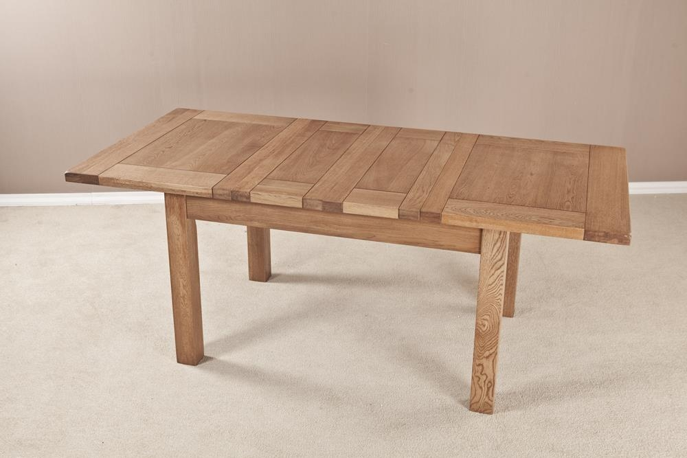 Country Solid Oak Rectangular 2 Leaf Extending Dining Table - 123.6cm-198.4cm