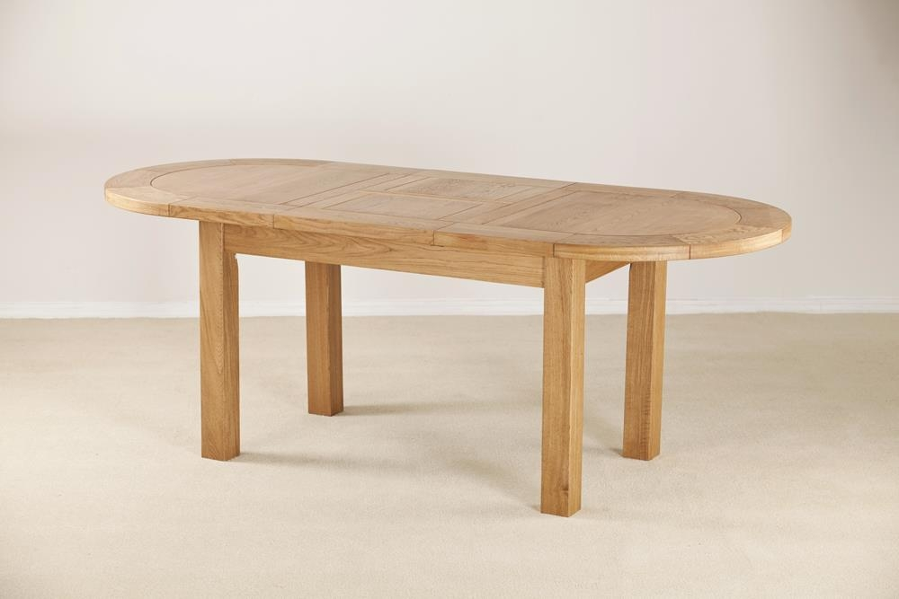 Country Solid Oak D-End Oval Extending Dining Table - 161.5cm-211.5cm