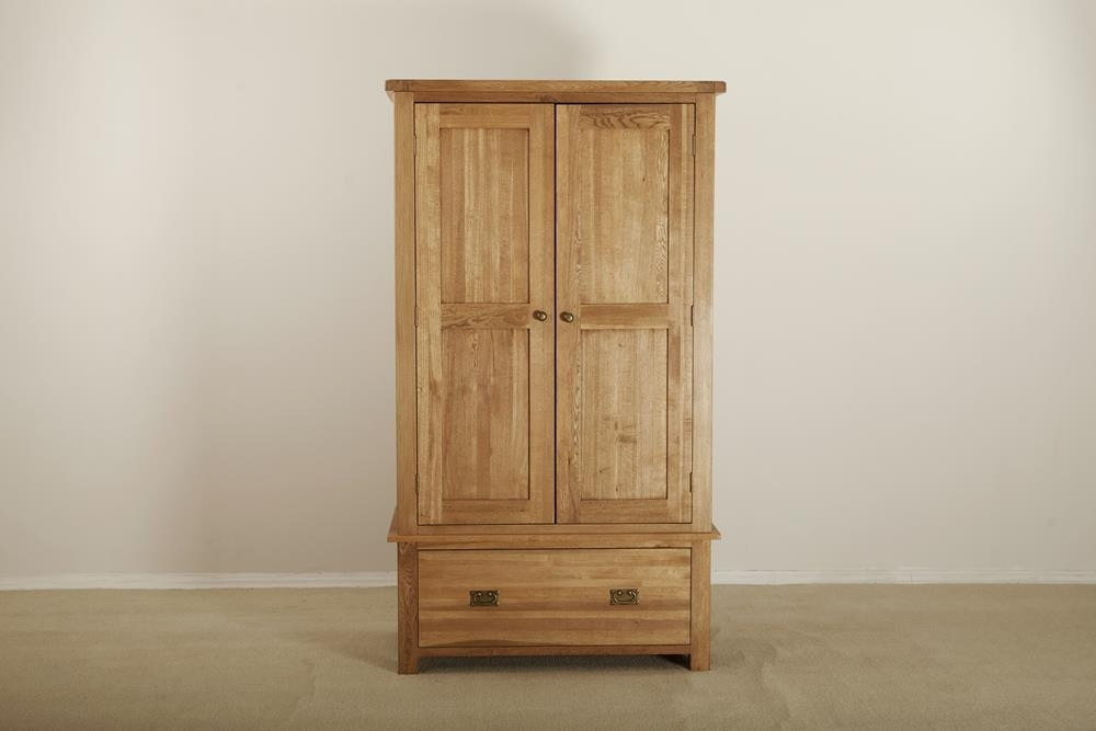 Country Solid Oak 2 Door 1 Drawer Double Wardrobe
