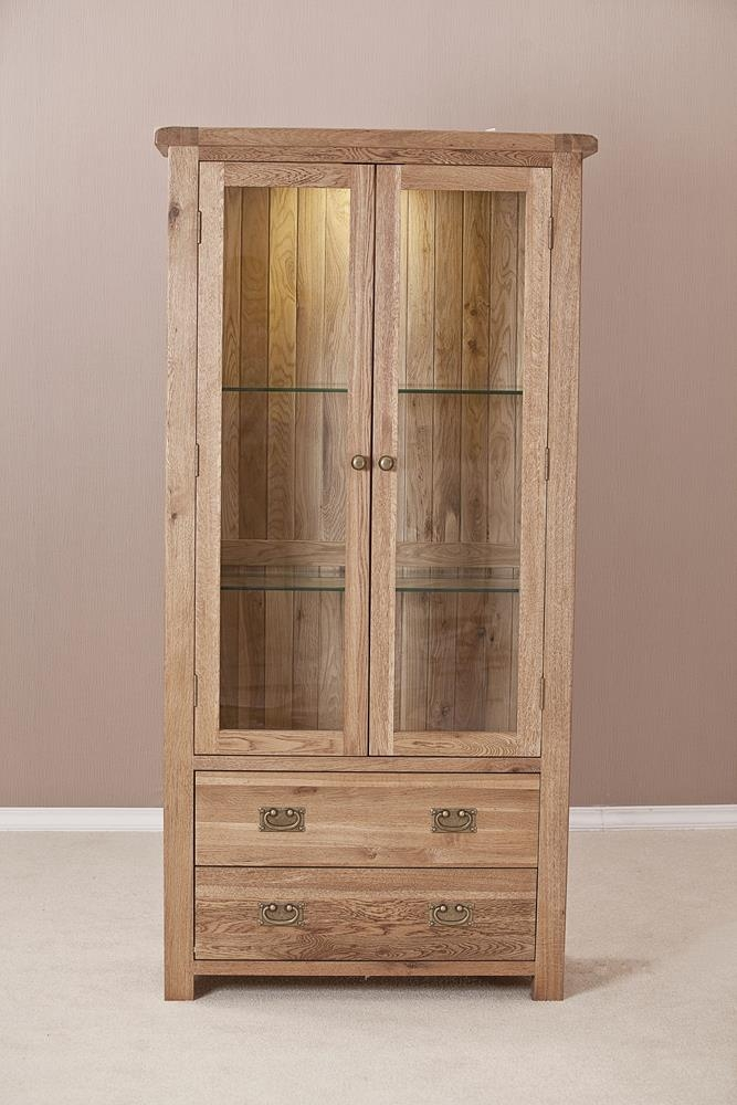 Country Solid Oak 2 Door 2 Drawer Glass Display Cabinet
