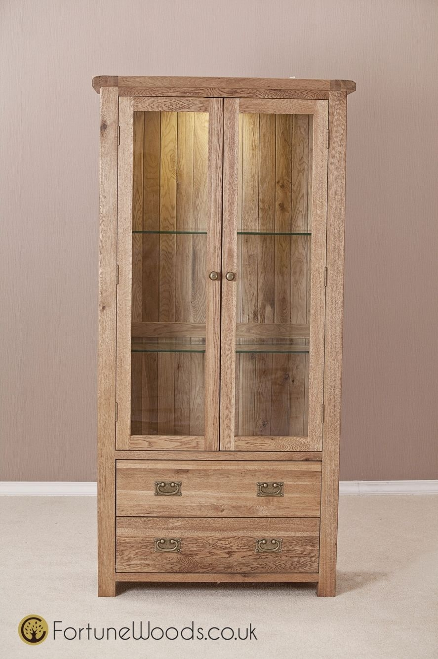 Country Solid Oak Glass Display Cabinet