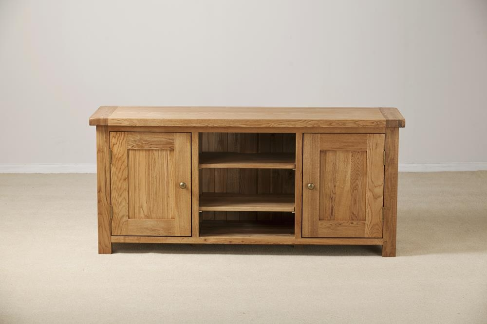 Country Solid Oak 2 Door Large TV Unit