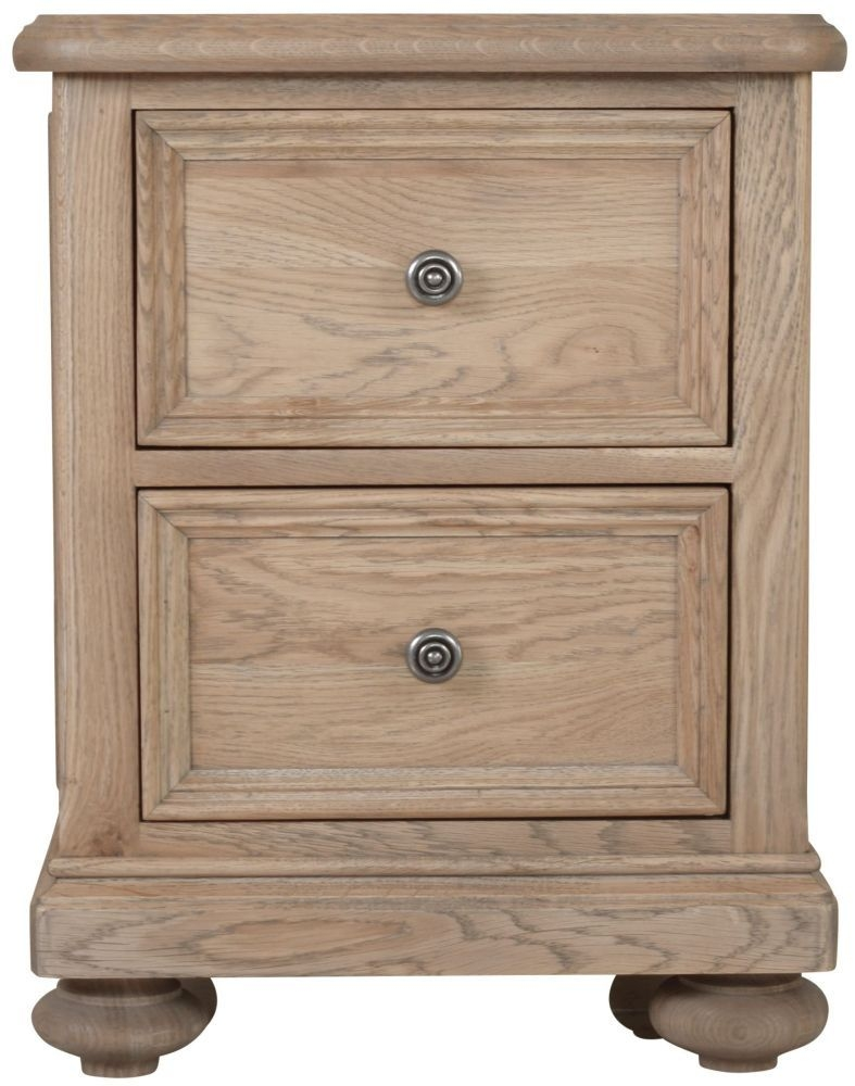 Hunter Smoked Oak Bedside Cabinet - 2 Drawer