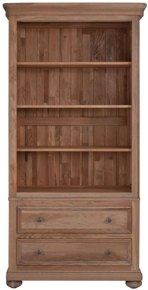 Hunter Smoked Oak Bookcase - 2 Drawer