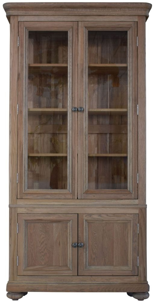 Hunter Smoked Oak Glass Display Cabinet - 4 Door