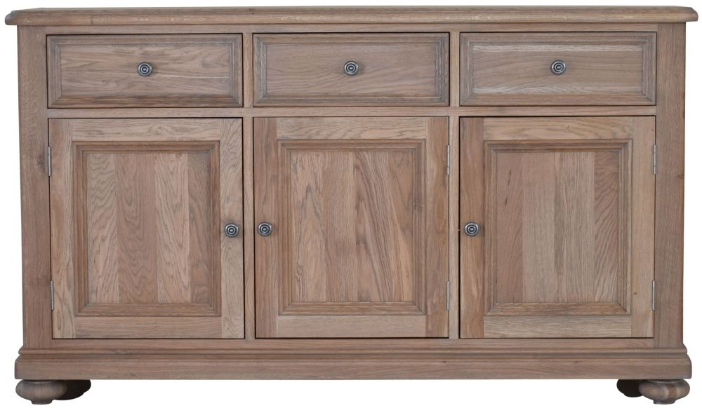 Hunter Smoked Oak Sideboard - Large Wide 3 Door 3 Drawer