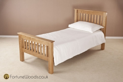 Milano Oak Bed - 3ft Single High Foot End