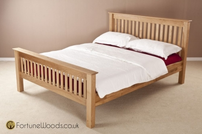 Milano Oak Bed - High Foot End