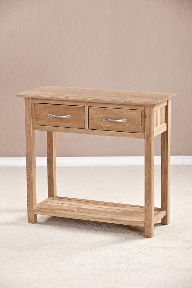 Buy milano solid oak drawer console table online cfs uk