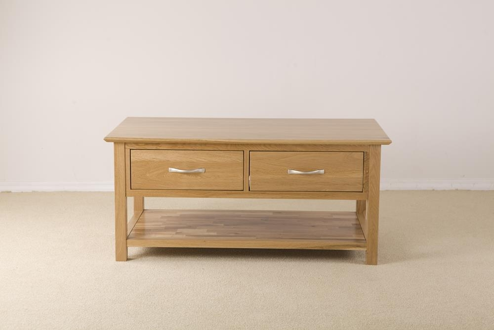 Milano Solid Oak 2 Drawer Storage Coffee Table