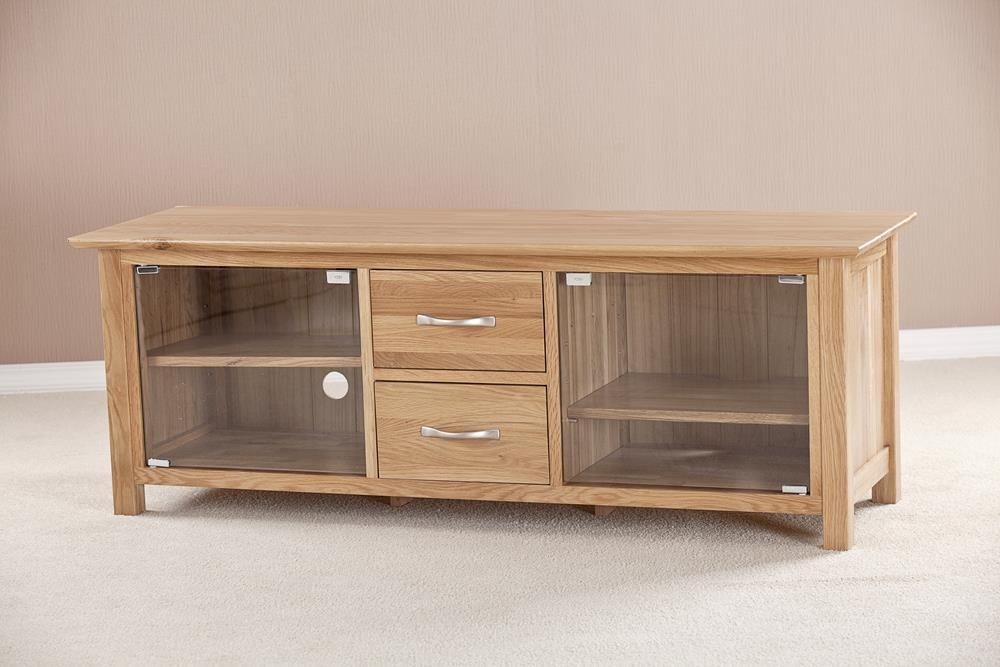 Milano Solid Oak TV Unit - Large with Glass 2 Door 2 Drawer