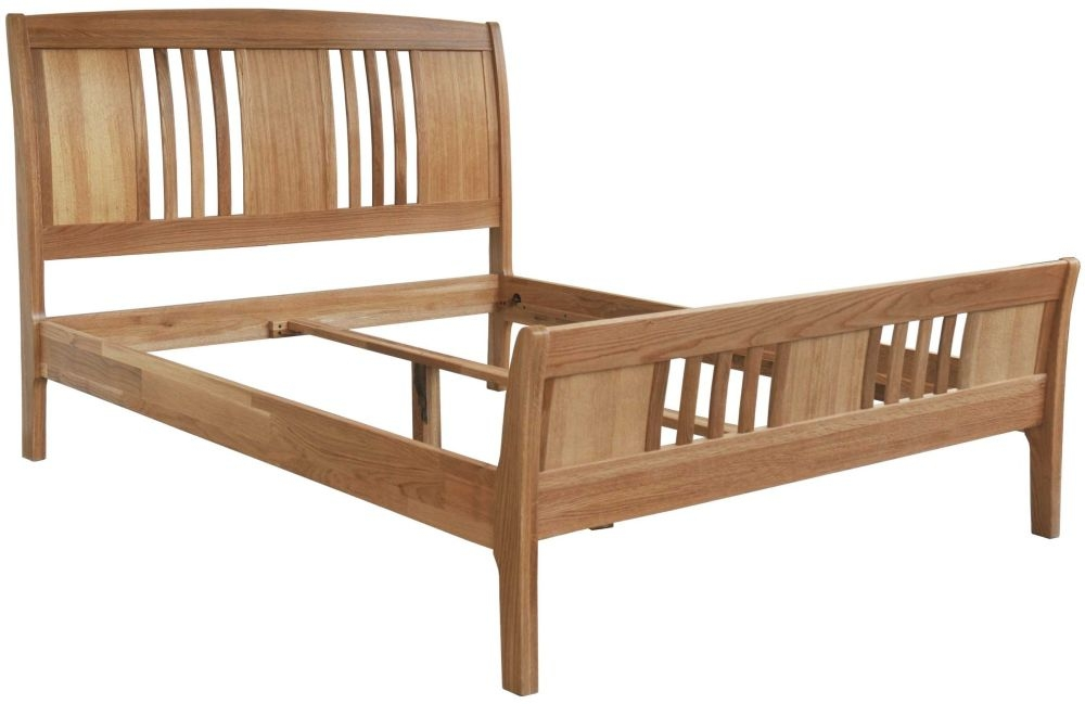 Milano Oak Bed - 4ft 6in Double High Foot Sleigh End