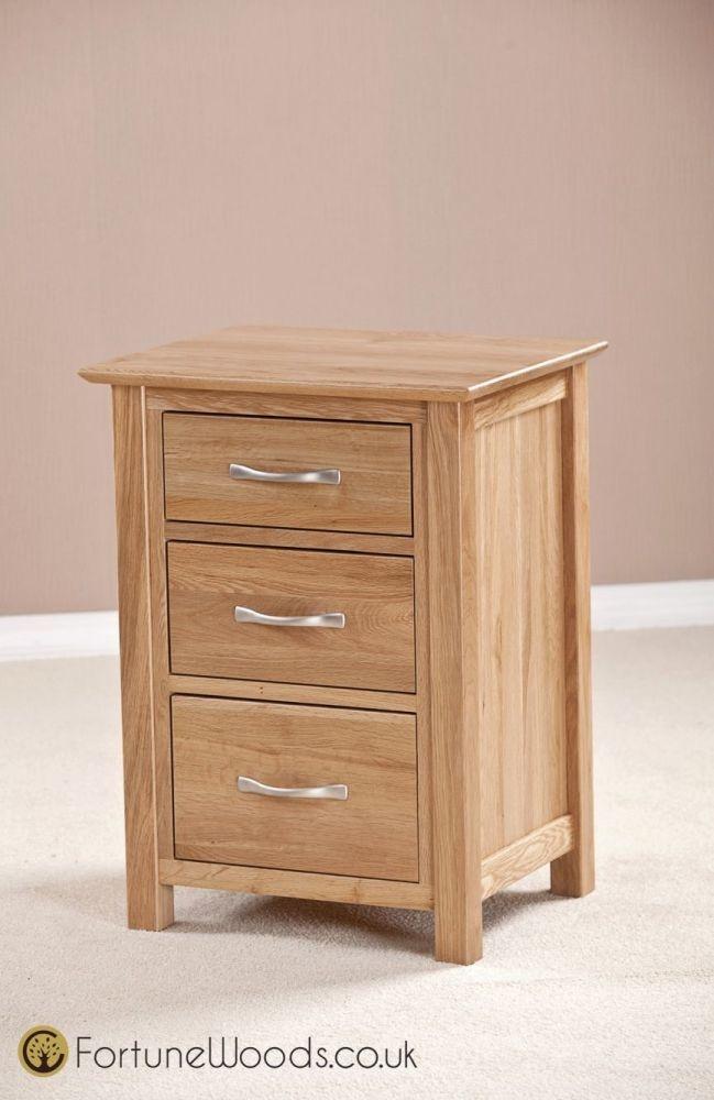 Milano Oak Bedside Cabinet - 3 Drawer High