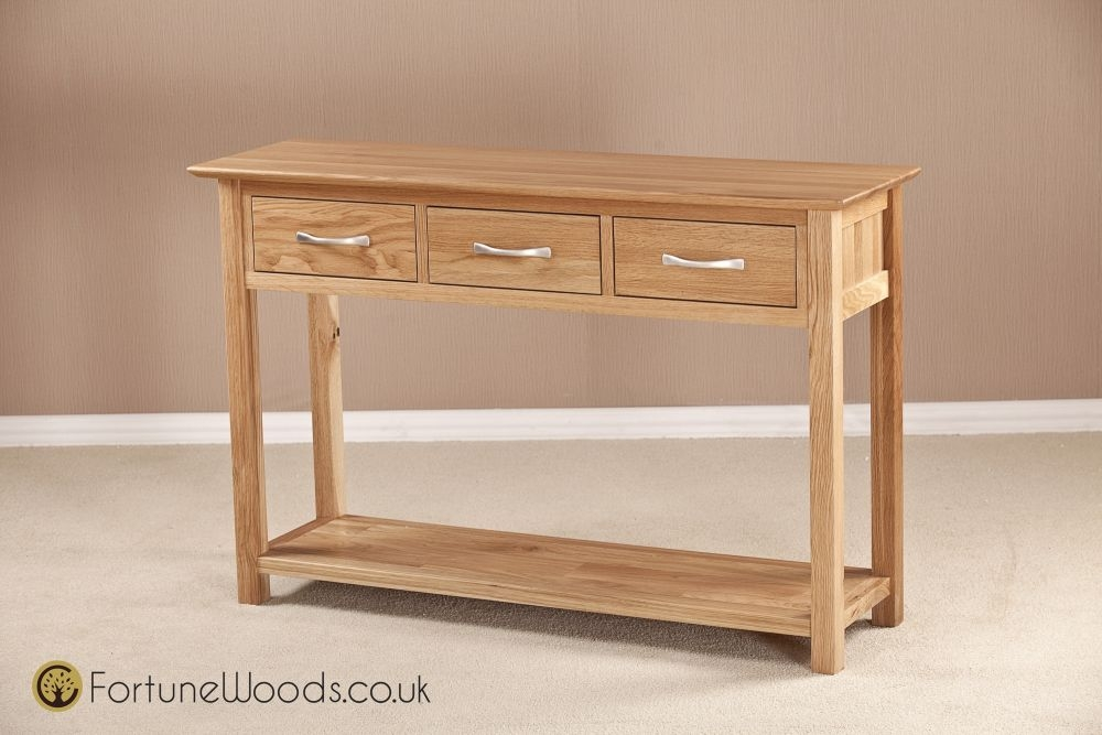 Buy Milano Solid Oak Console Table 3 Drawer Online CFS UK