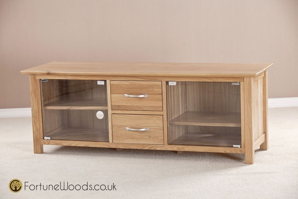 Milano Oak TV Unit - Large with Glass Door