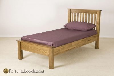 Rustic Oak Bed - 3ft Single Low Foot End