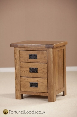 Rustic Oak Bedside Cabinet - 3 Drawer