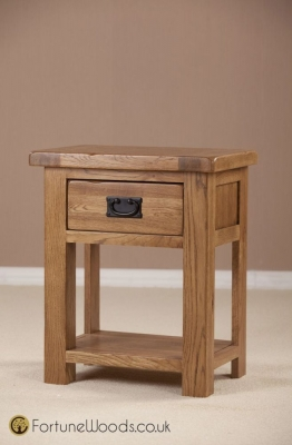 Rustic Oak Bedside Table - 1 Drawer