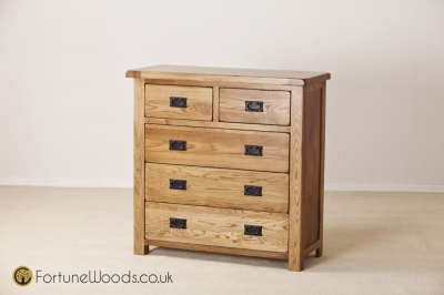 Rustic Oak Chest of Drawer - 3+2 Drawer