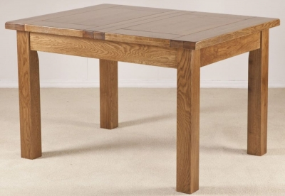 Rustic Oak Dining Table  - 4ft  Extending with 1 Leaf