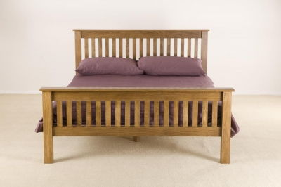 Rustic Oak High Foot End Bed