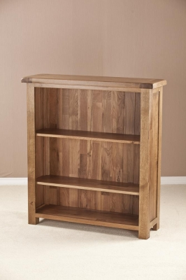 Rustic Oak Low Wide Bookcase