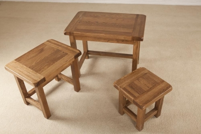 Rustic Oak Nest of Tables