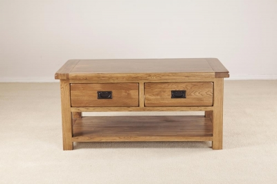 Rustic Oak Storage Coffee Table