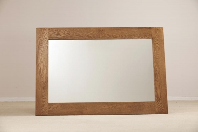 Rustic Oak Rectangular Wall Mirror - 130cm x 90cm