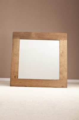 Rustic Oak Rectangular Wall Mirror - 90cm x 90cm