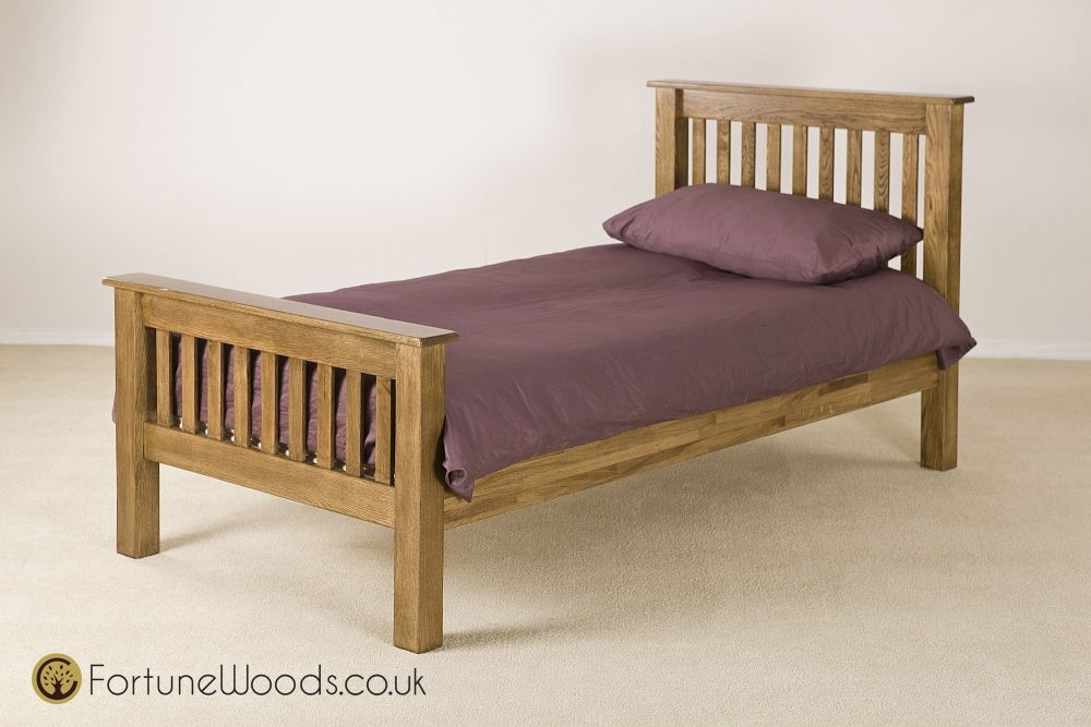 Rustic Oak Bed - 3ft Single High Foot End