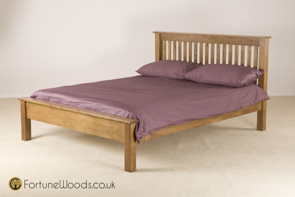 Rustic Solid Oak Bed - Low Foot End