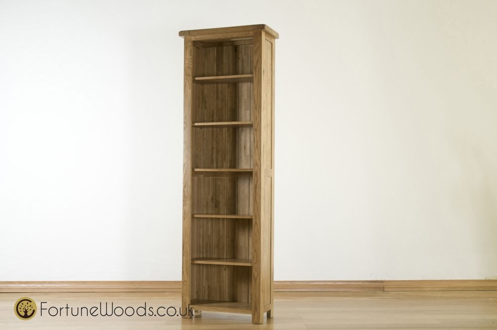 Rustic Solid Oak Bookcase - Narrow