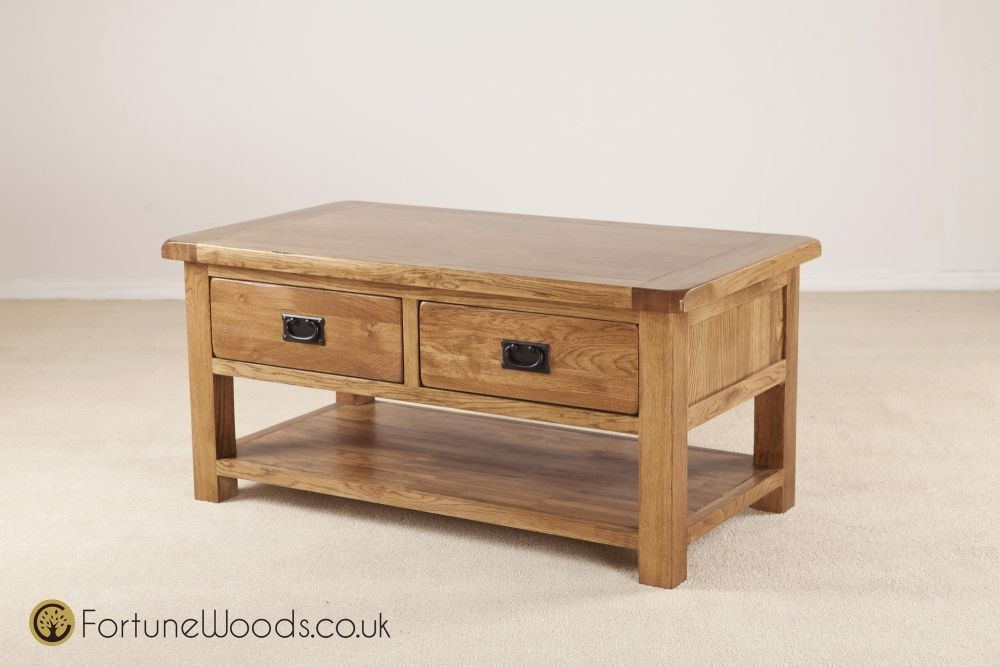Rustic Oak Coffee Table with Drawer