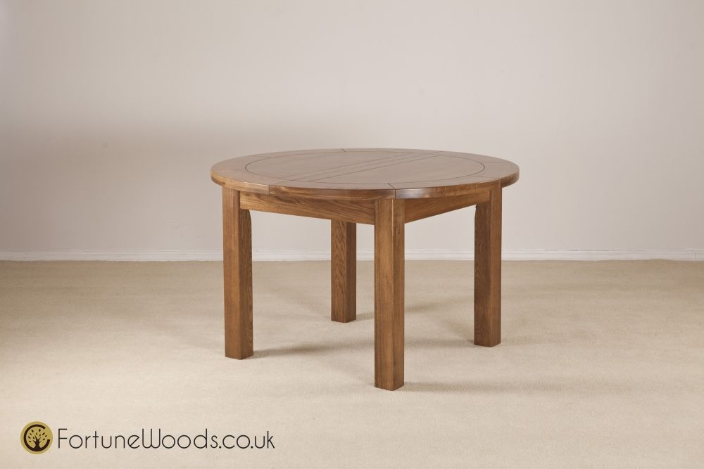 Rustic Oak Dining Table - Round Extending