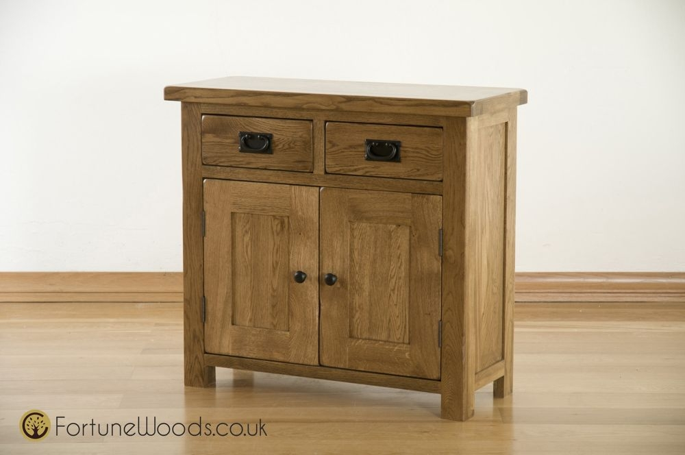 Rustic Solid Oak 2 Door 2 Drawer Narrow Sideboard