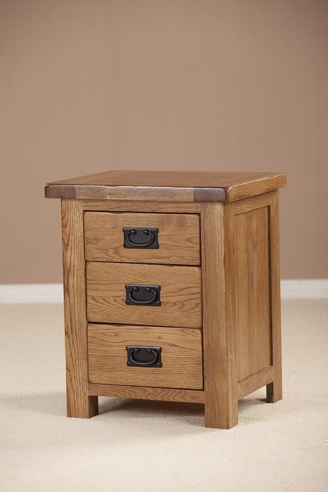 Rustic Solid Oak 3 Drawer Bedside Cabinet
