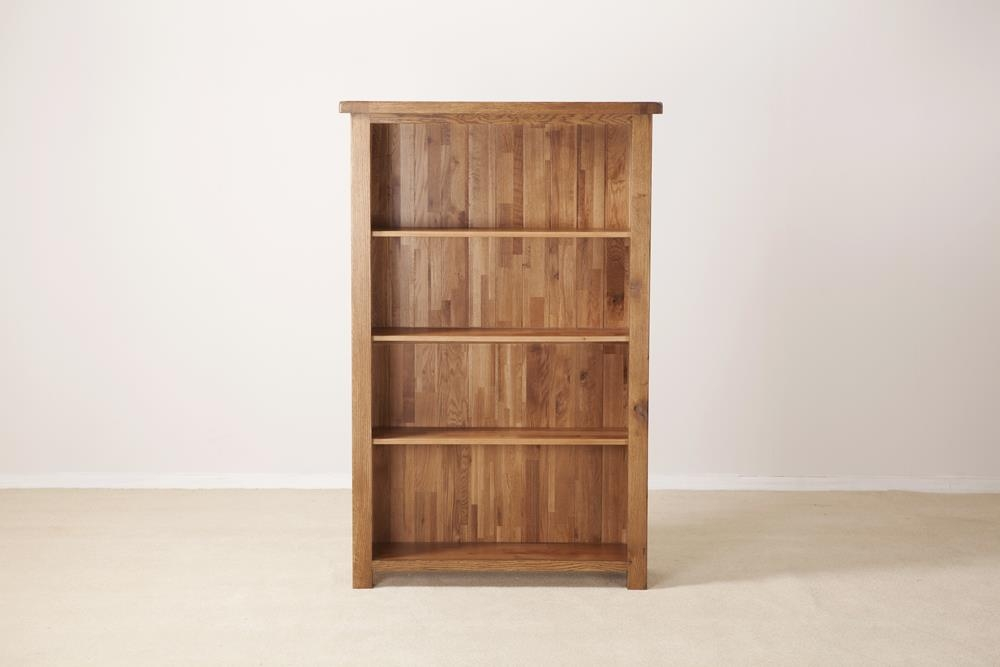 Rustic Solid Oak Wide 5ft Bookcase