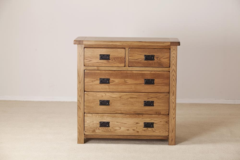 Rustic Solid Oak 3+2 Drawer Chest