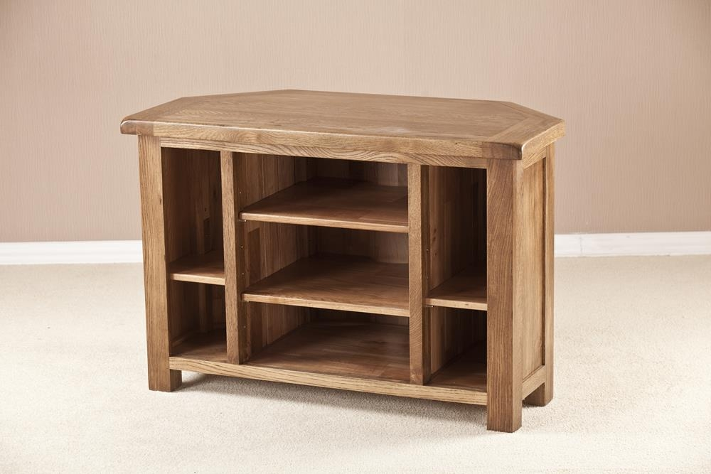 Rustic Solid Oak Corner TV Unit