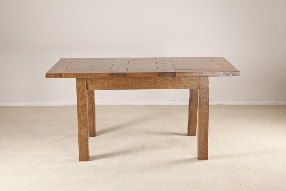 Rustic Solid Oak Rectangular 1 Leaf Extending Dining Table - 120cm-160cm