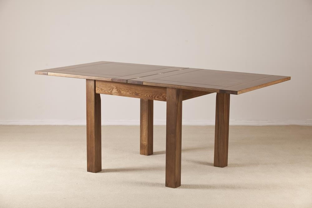 Rustic Solid Oak Flip Top Square Extending Dining Table - 91.5cm-183cm